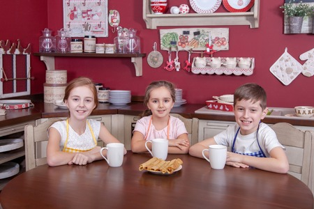 Best little friends resting in kitchen and holding cups in their hands and drinking tea and looking at camera. Studio shot.