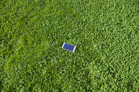 mobile smart phone on green grass, top view.