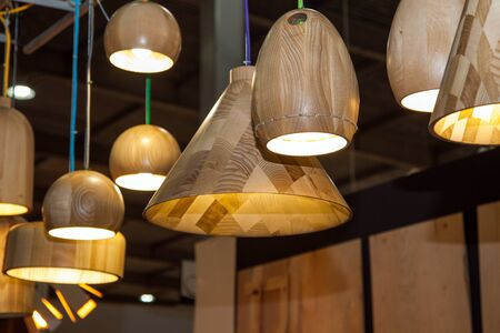 set of wooden modern ceiling light fixtures Archivio Fotografico - 128124046
