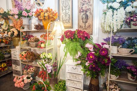 collection of beautiful floral bouquets and plants in flower shop Stock Photo