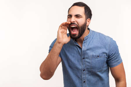 Stressful bearded man in blue shirt loudly speaking holding hand near mouth, aggressively screaming, making important announcement. Indoor studio shot isolated on white background