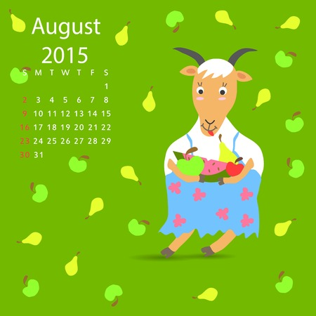 august calendar: Agosto calendario cabra vector gr�fico, ilustraci�n, dise�o Vectores