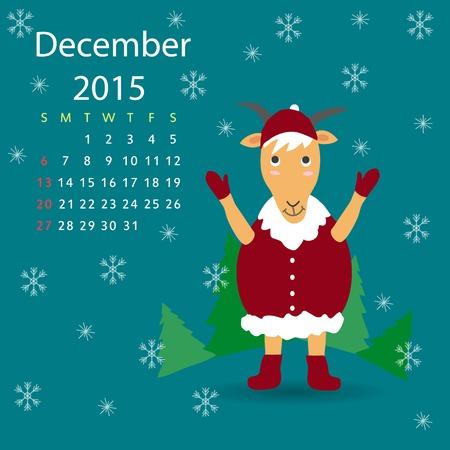 december calendar: Dicembre calendario capra illustrazione grafica