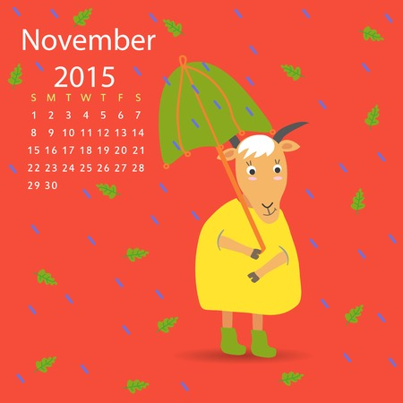 november calendar: November calendar goat vector graphic illustration design