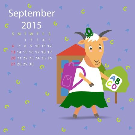 calendario septiembre: Septiembre calendario de cabra vector gr�fico, ilustraci�n, dise�o Vectores
