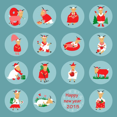 spring coat: New year flat icon goat vector graphic illustration design
