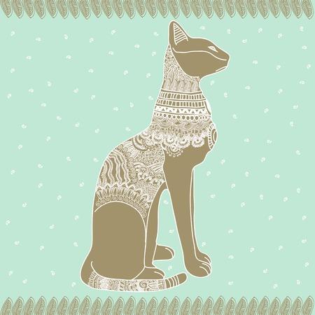 cat goddess: Egypt cat tender graphic illustration design art