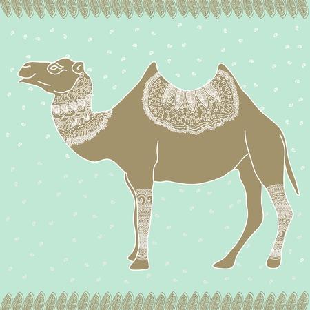 rewards card: Camel Egypt tender vector graphic illustration design art