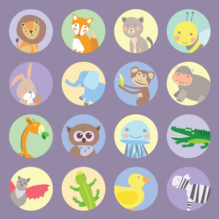 Icons animals kids vector graphic illustration design art