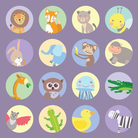 Icons animals kids vector graphic illustration design art