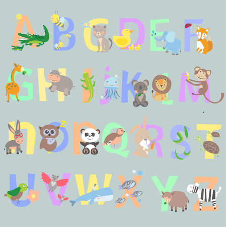 English alphabet kids vector graphic illustration design art Illustration
