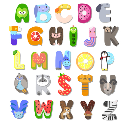 children alphabet animal fruit
