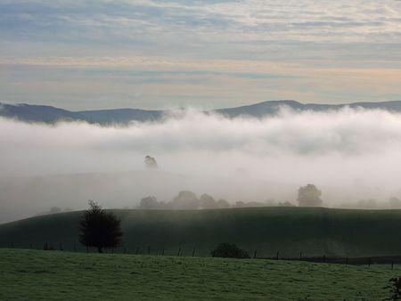 Early morning mist near Kendal Stock Photo - 667455