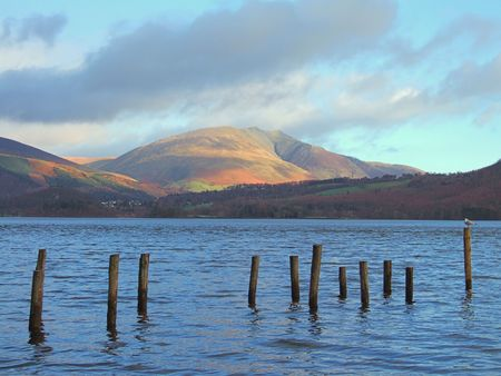 Blencathra, seen from Derwentwater in the English Lake district 免版税图像