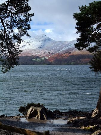 the crag: Catbells & a windswept Derwentwater from Friars Crag