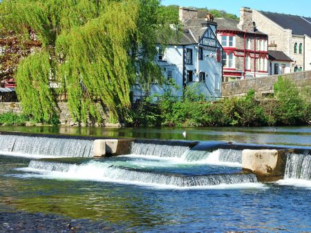 weir: Weir and Willow tree on the river Kent, Kendal