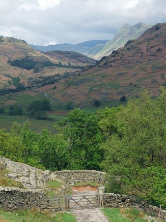 The Langdale Pikes and  a gate Stock Photo - 954722