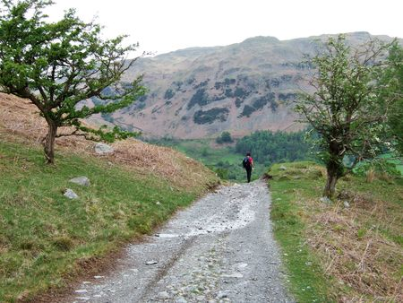 Hiking in Little Langdale on the path from Tilberthwaite