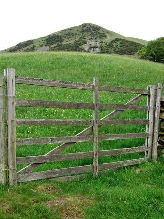 Farm gate and meadow near Sedbergh, Cumbria, UK photo
