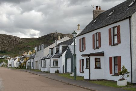 row of cottages at Shieldag, Wester Ross, NW Scotland, UK