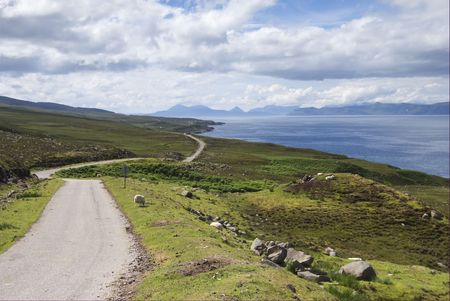Wester Ross coast route on the NW coast of Scotland looking to Skye