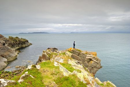 headland: Looking out from a headland at Mellon Udrigle, Sutherland, NW Scotland Stock Photo