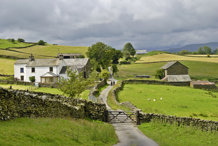 A couple walking along a country lane as it passes through a farm in the English lake District photo