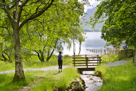 A female hiker approaching a wooden bridge over a stream on the shore of Buttermere in the English Lake District