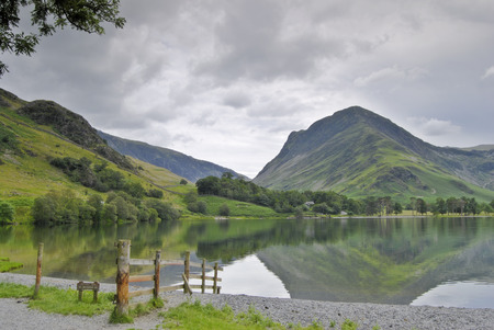 The Eastern end of Buttermere in the English Lake District with Fleetwith Pike rising beyond