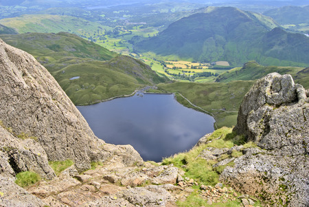 langdale pikes: Stickle Tarn seen from the the top of Jacks Rake on Pavey Ark