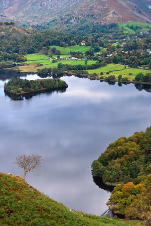 An aerial view of Grasmere in the English Lake district as seen from the slopes of Loughrigg