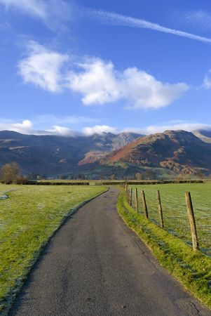 langdale: At the head of Langdale with Crinkle Crags and Bowfell in the background Stock Photo