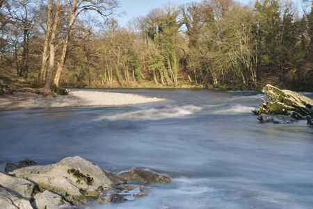 lonsdale: Small rapids on the a bend of the river Lune at Kirkby Lonsdale, Cumbria, UK Stock Photo