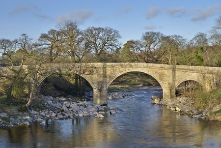 A view of Devils Bridge, a famous landmark on the river Lune near Kirkby Lonsdale, Cumbria, UK