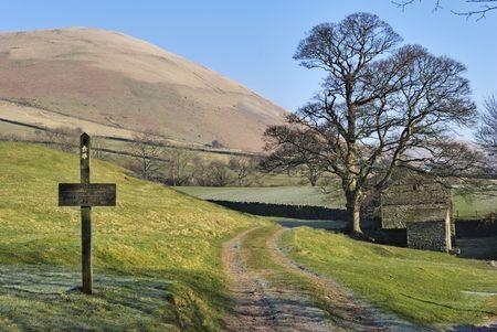 A footpath sign, tree and barn near Sedbergh, Cumbria, England photo