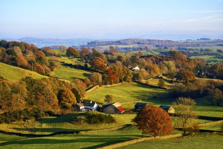 Typical English rural scene with rolling countryside and grazing sheep with Autumn colours Stock Photo