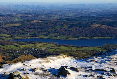 An aerial view of Coniston Water seen from the summit of the Old Man Stock Photo - 4014885