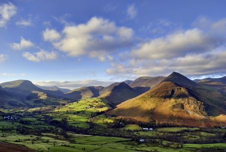 An aerial view of Causey Pike, Robinson, and Newlands Valley from the ridge of Catbells