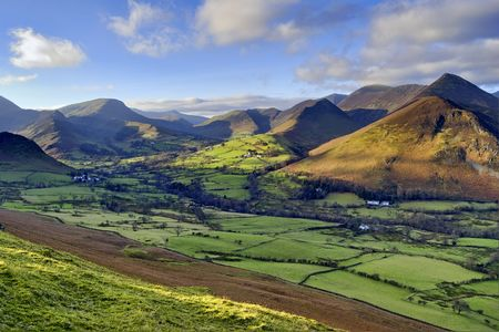 newlands: An aerial view of Causey Pike, Robinson, and Newlands Valley from the ridge of Catbells