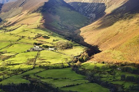 An aerial view of an Isolated farm in the Newlands Valley, Cumbria in the English Lake District Stock Photo - 4220214