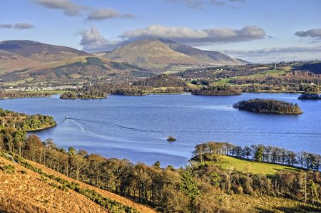 Northern Derwent Water,  Keswick and Blencathra from the slopes of Catbells Stock Photo - 4260276