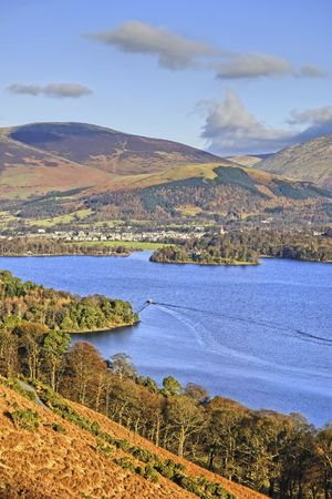 Northern Derwent Water,  Keswick and Blencathra from the slopes of Catbells photo