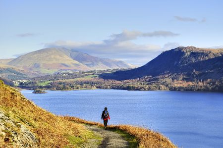 A Female hiker with Derwent Water in the background photo