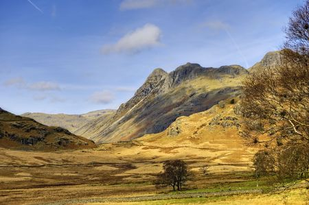 langdale pikes: Scenic view of Langdale Pikes mountains, Great Langdale valley. Lake District National park, Cumbria, England Stock Photo