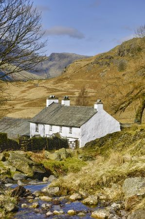 Scenic view of mountainous landscape of Lake District National park with Blea Tarn house in foreground, Cumbria, England Stock Photo - 4684627