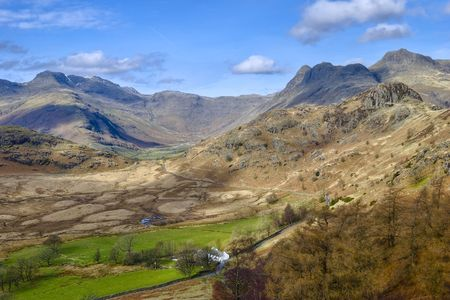 langdale pikes: Aerial view of the head of the Langdale valley, a popular tourist area of the English Lake District National Park.  The mountains in the distance are the Langdale Pikes to the right, and Bowfell on the left