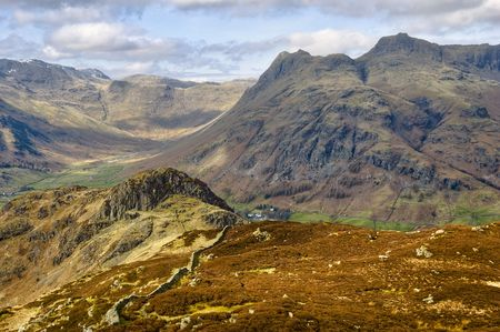 Scenic view of Langdale Pike mountains viewed from Lingmoor Fell, Great Langdale, Lake District National Park, Cumbria, England Stock Photo - 4739246