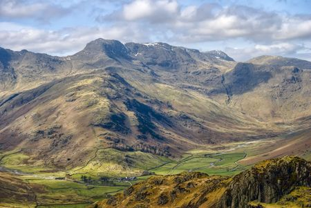 Scenic view of Bow Fell mountain, Southern Fells, Lake District National Park, Cumbria, England.