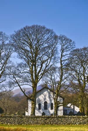newlands: Scenic view of Newlands church in countryside, Littletown hamlet, Lake District National Park, Cumbria, England. Stock Photo