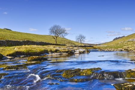 Yorkshire Dales: Scenic view of river Wharfe, Wharfedale valley, Yorkshire Dales National Park, England Stock Photo